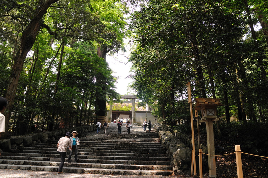 The stairs leading to the Ise Shrines