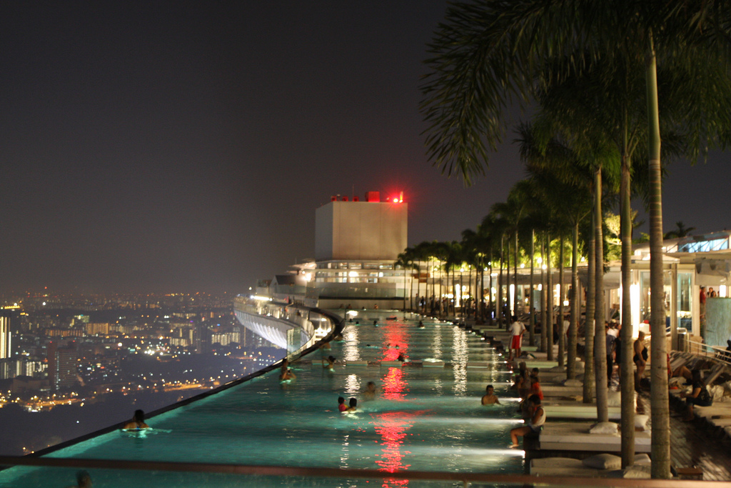 Rooftop swimming pool at the Marina Bay Sands Hotel in Singapore