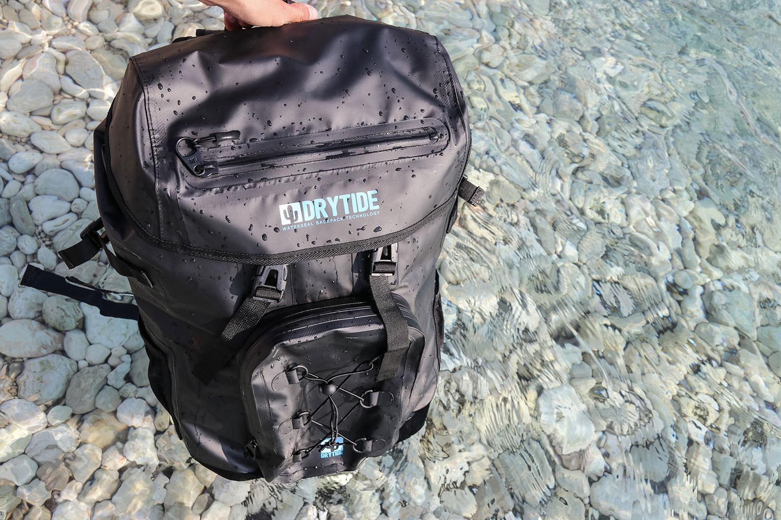waterproof backpack in use